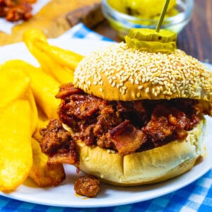 Brown Sugar Bacon Sloppy Joes on a plate with fries.