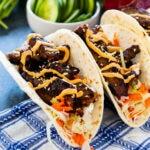 Two Beef Bulgogi Tacos.
