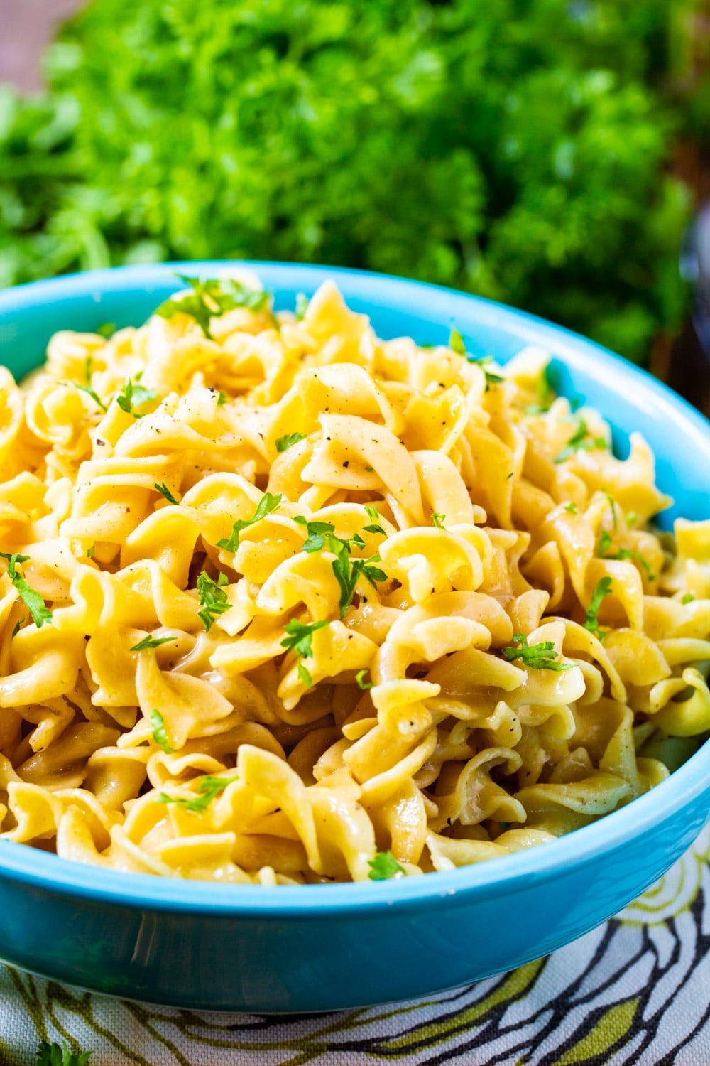 Buttered Noodles in a serving bowl.