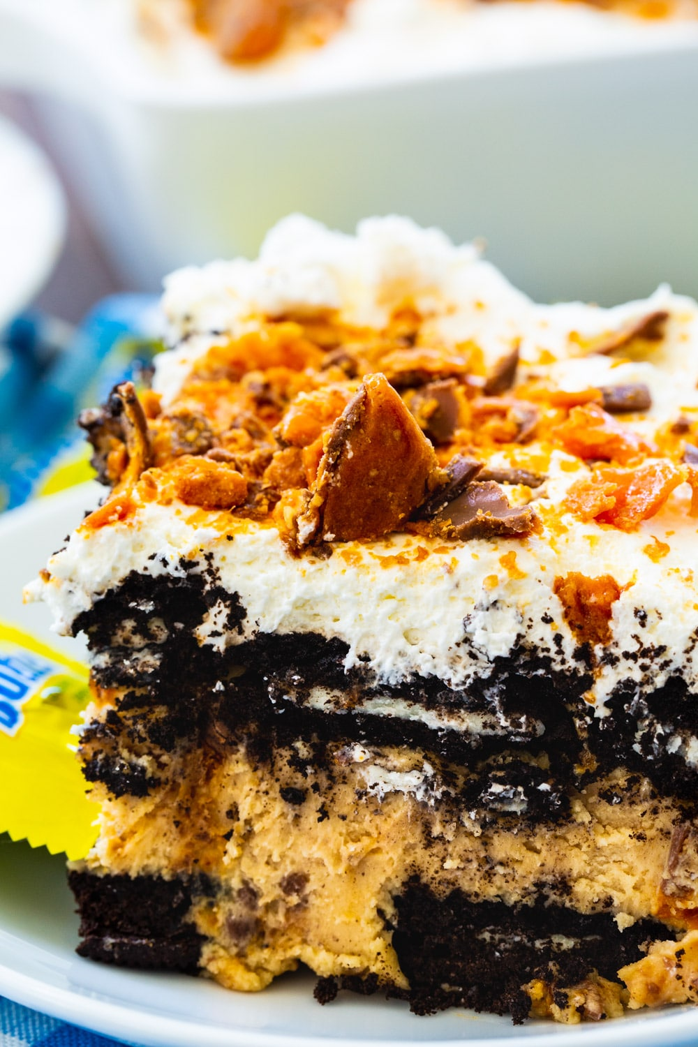 Close-up of No Bake Butterfinger Oreo Icebox Cake