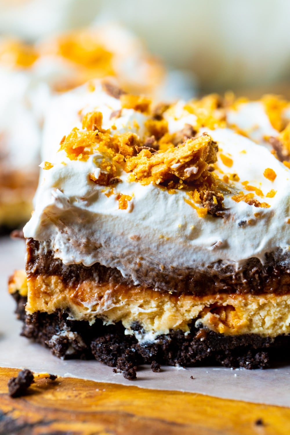 Close-up of Butterfinger Chocolate and Peanut Butter Lush.