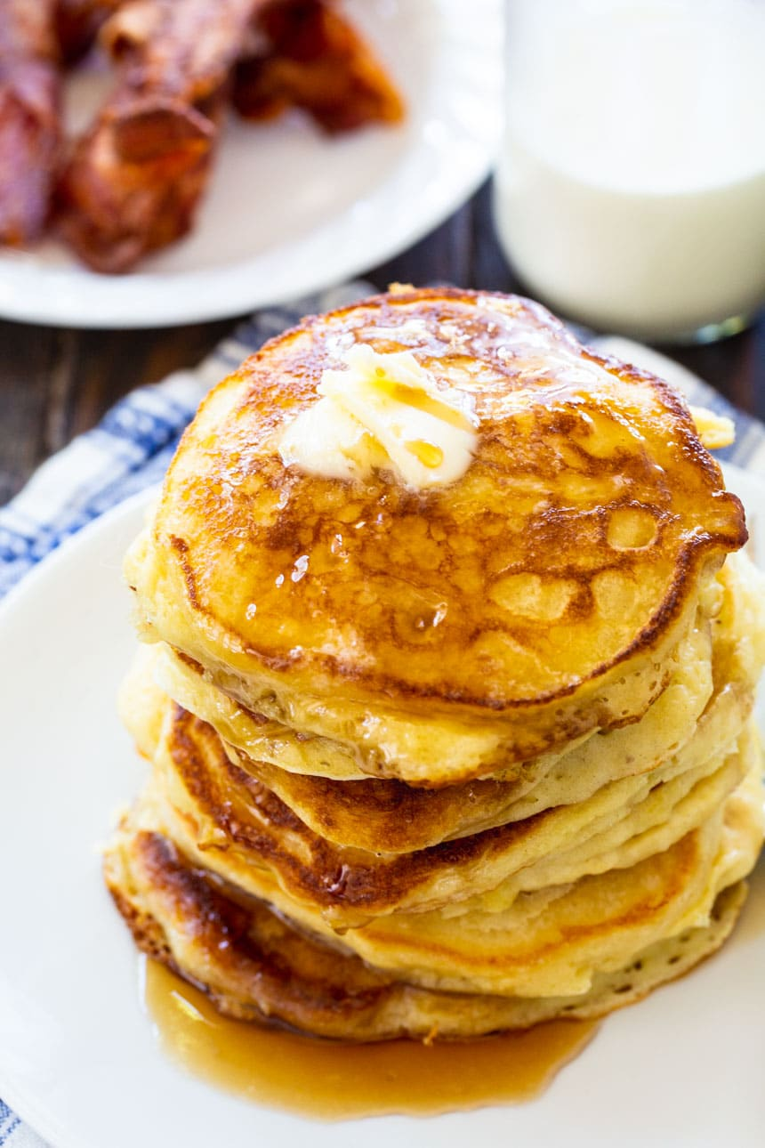 overhead view of pancakes