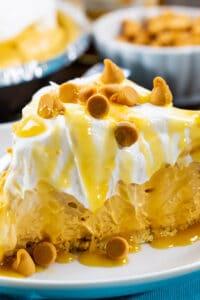 Slice of No-Bake Butterscotch Pie on a plate.
