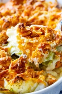 Old-Fashioned Cabbage Casserole in a baking dish.