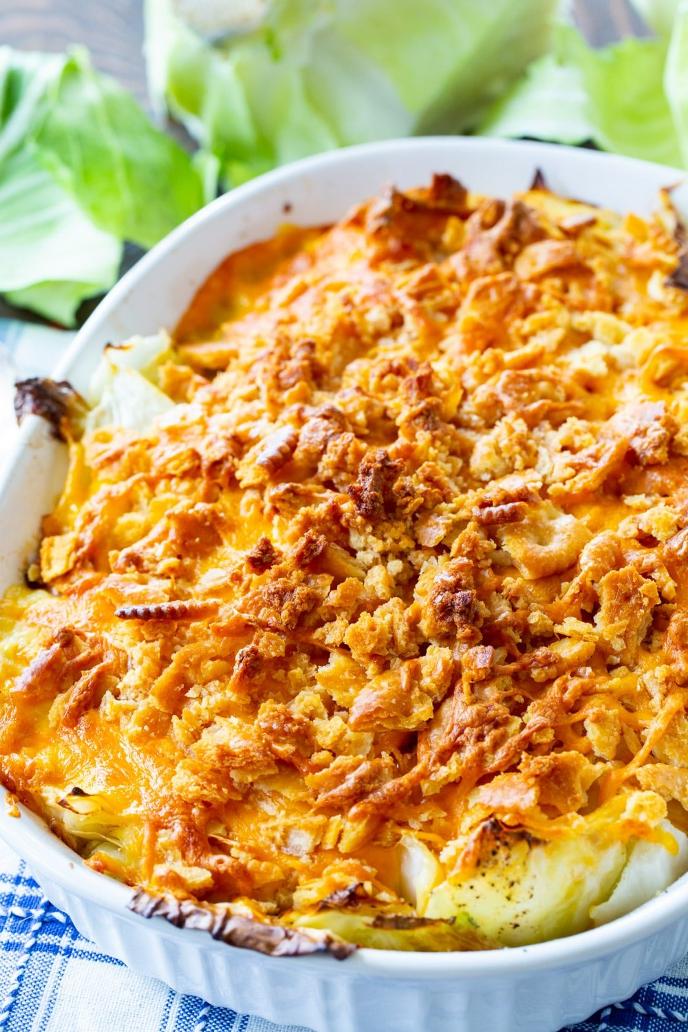 Cabbage Casserole in a baking dish.