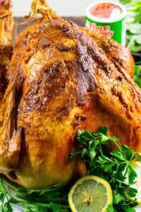 Cajun roast turkey with garnishes
