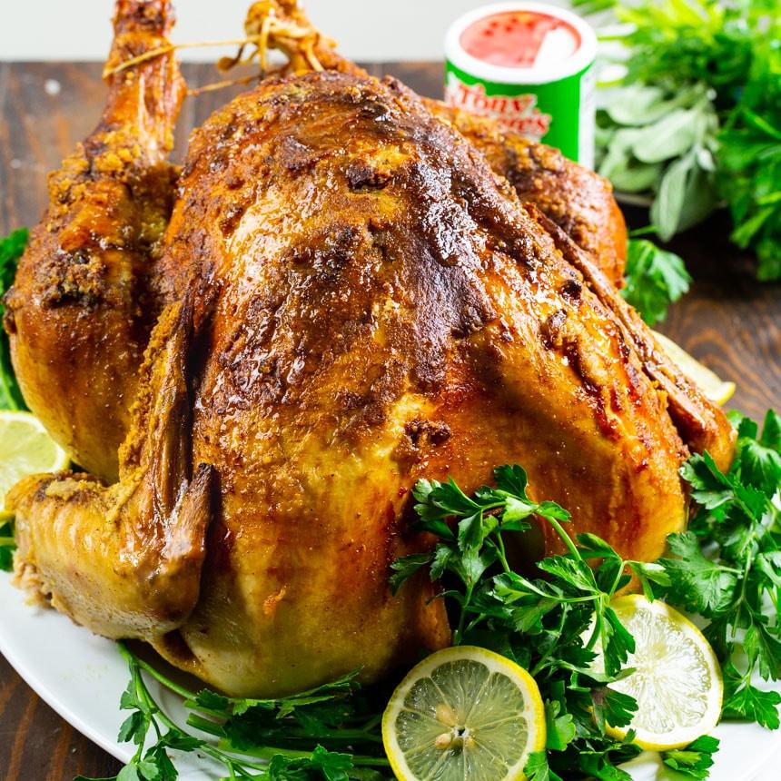 Whole Roast Turkey on serving platter.