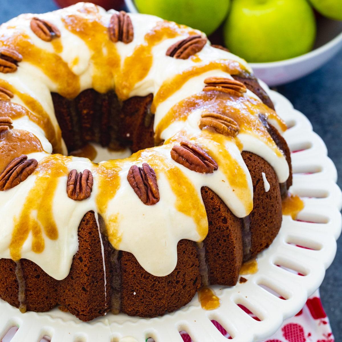 Caramel Apple Pound Cake on a cake stand.