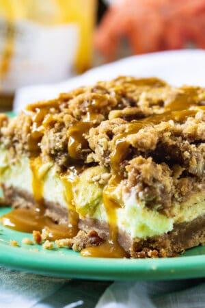 Caramel Apple Cheesecake Bar on a plate.