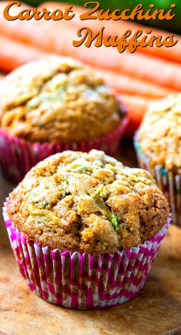Close-Up of 3 Carrot Zucchini Muffins