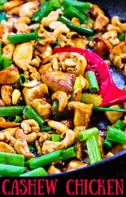 Cashew Chicken in large skillet.