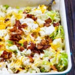 Bacon and Ranch Cauliflower Salad in a 9x13-inch pan.