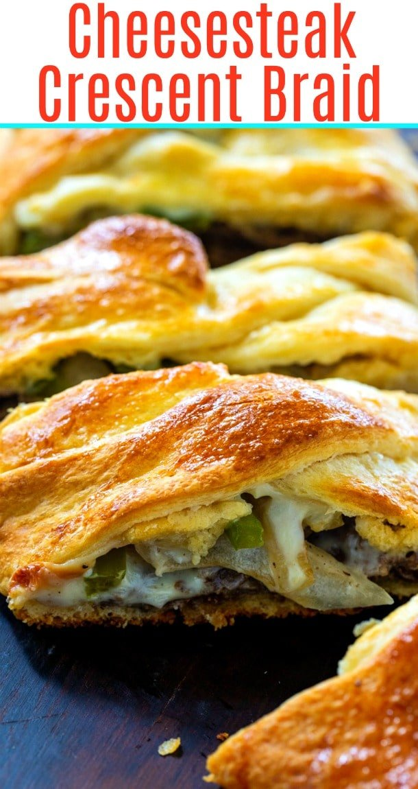 Cheesesteak Crescent Braid