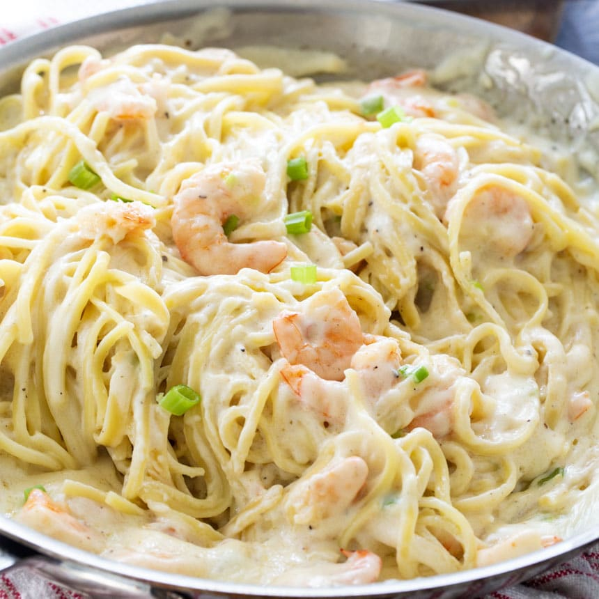 Pan full of Cheesy Shrimp Alfredo