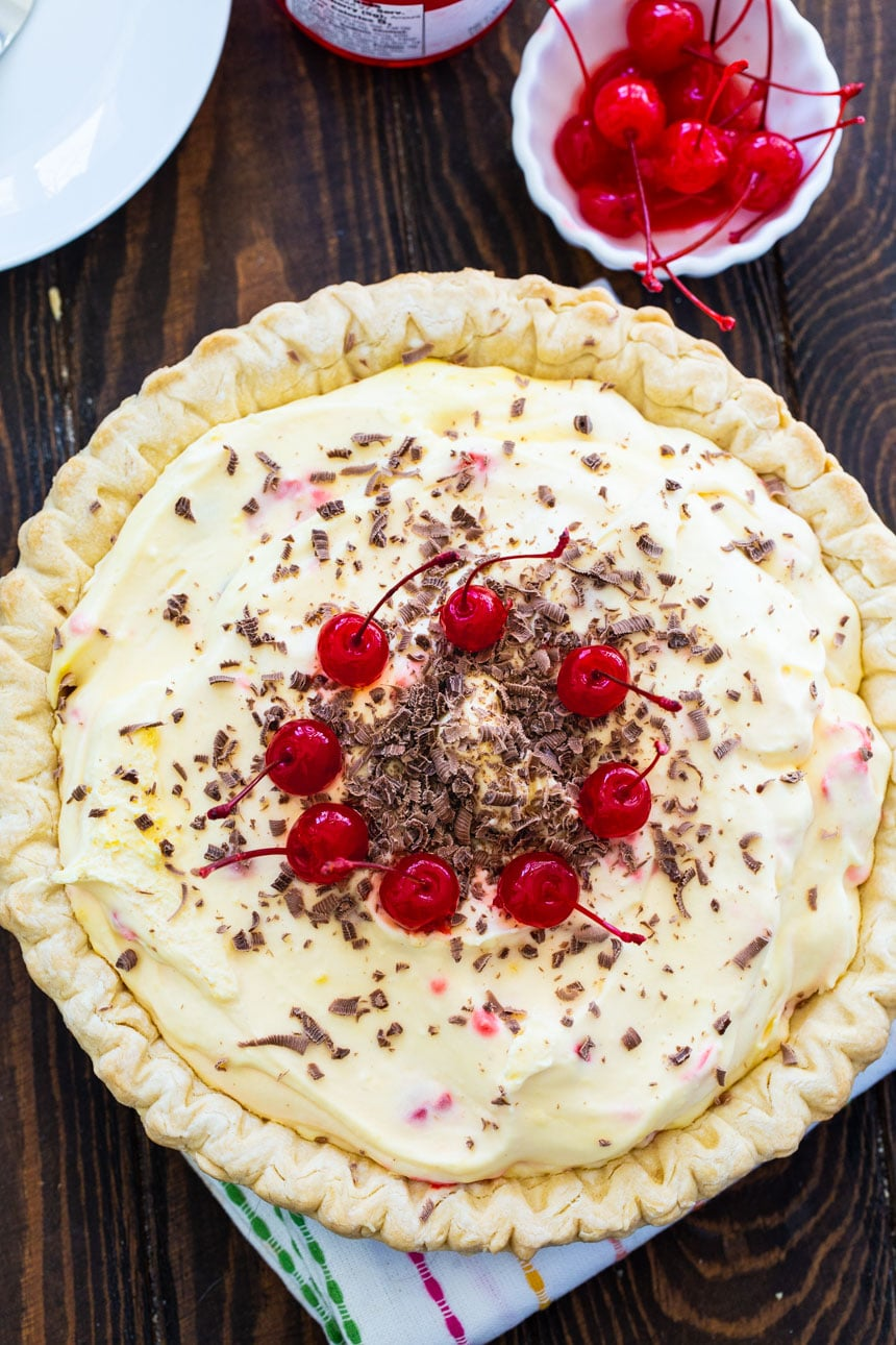 No-Bake Maraschino Cherry Pie