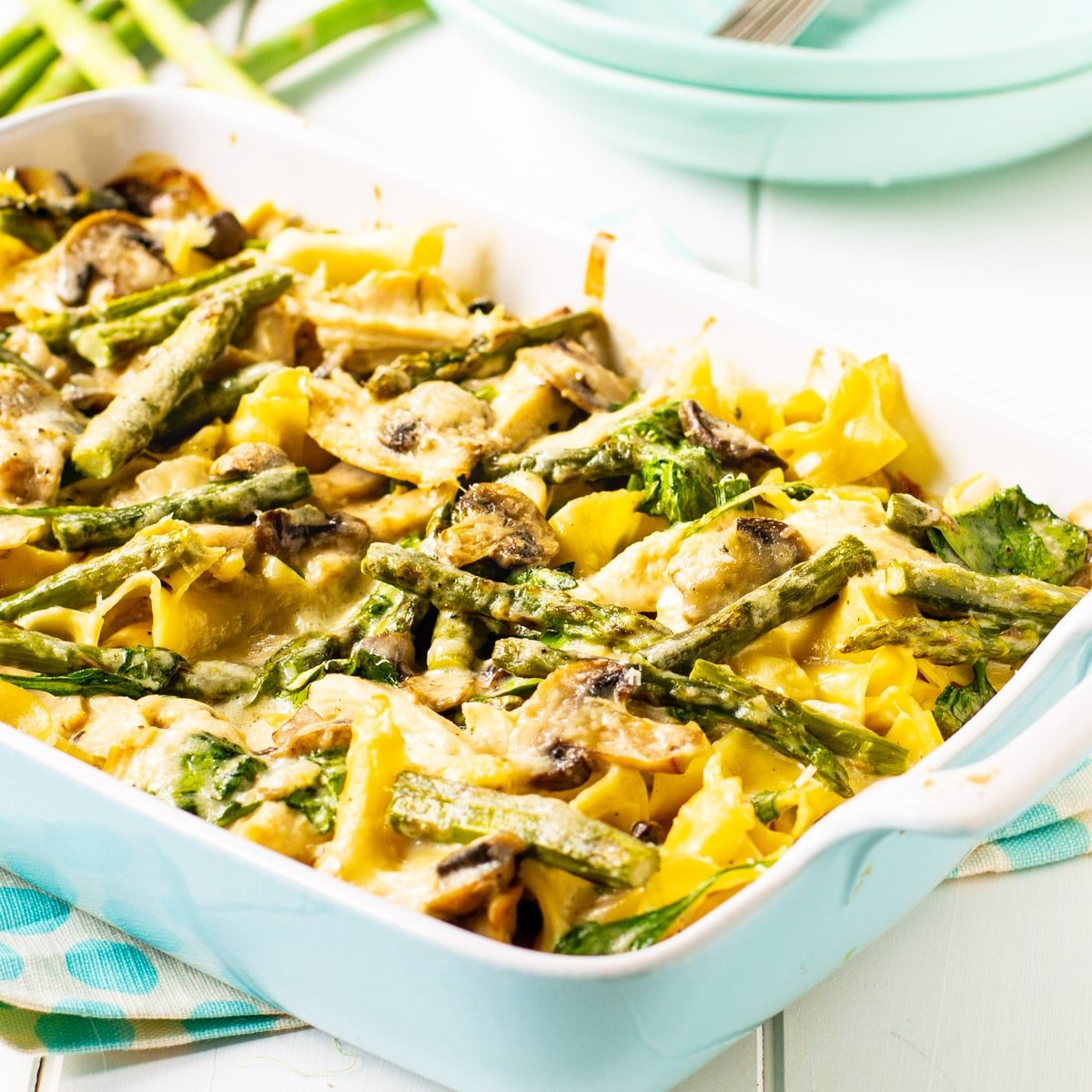 Chicken and Asparagus Casserole in a baking dish.
