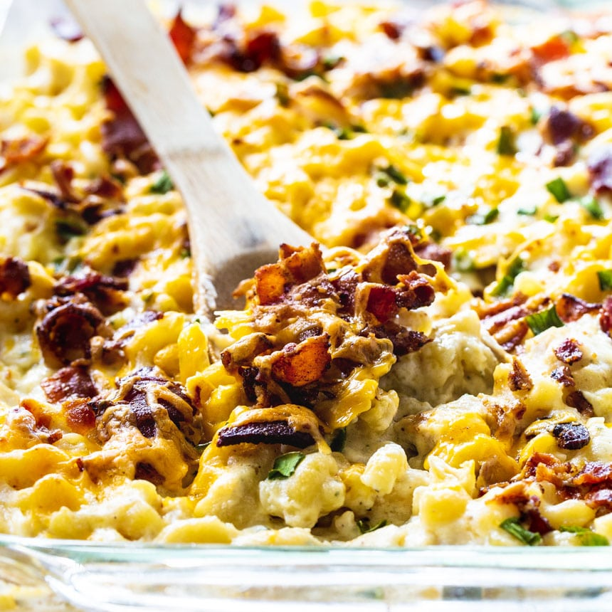 Mac and Cheese with chicken, bacon, & Ranch close-up