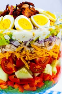 Chicken Bacon Ranch Layer Salad in a trifle bowl.