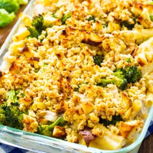 Chicken Broccoli & Ziti Casserole in a baking dish.
