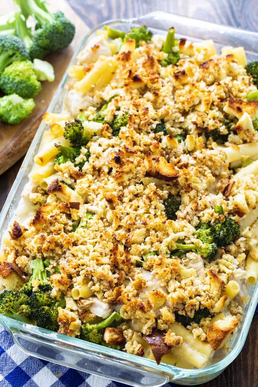Chicken Ziti Casserole with Broccoli in a 9x13-inch baking dish.