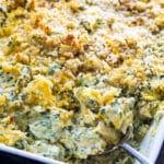 Chicken Florentine Casserole in a baking dish.