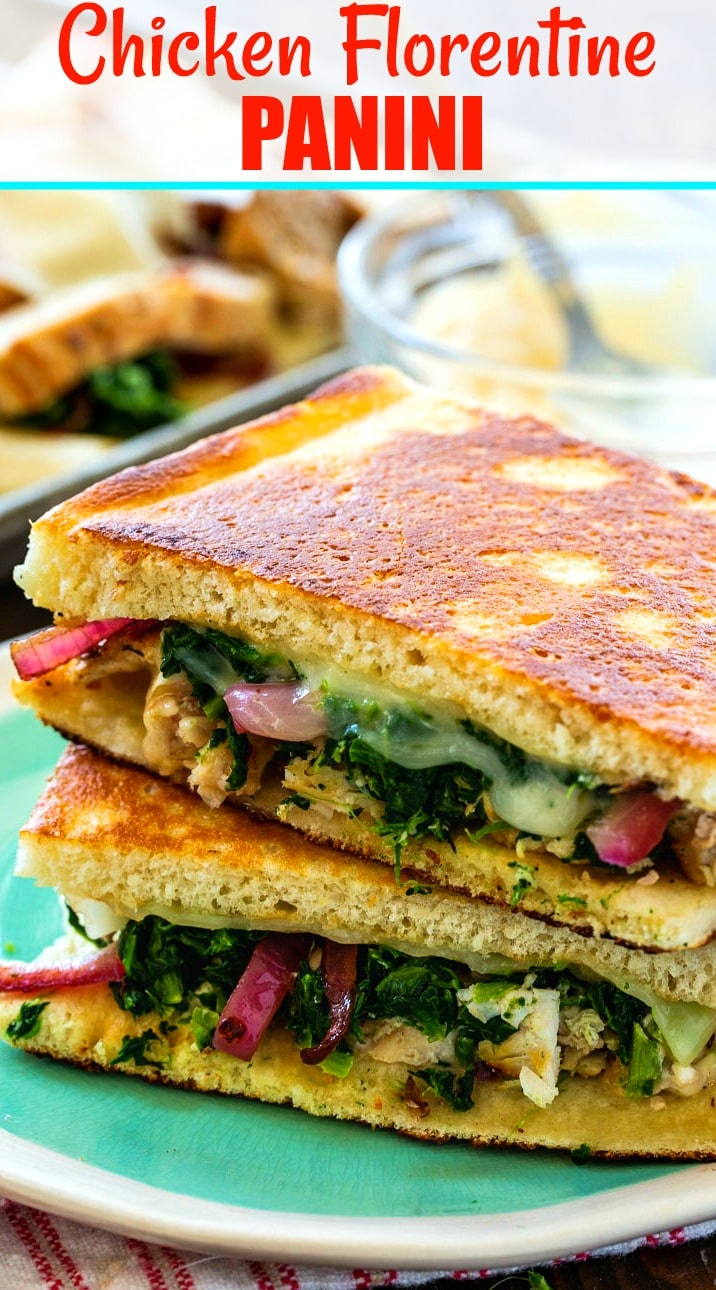 Close-up of Chicken Florentine Panini on a plate.