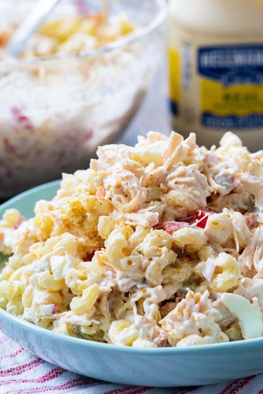 Chicken Macaroni Salad with mayonnaise jar in background