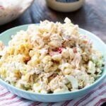 Chicken Macaroni Salad in a light blue serving bowl