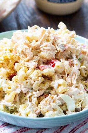 Chicken Macaroni Salad in a blue bowl.