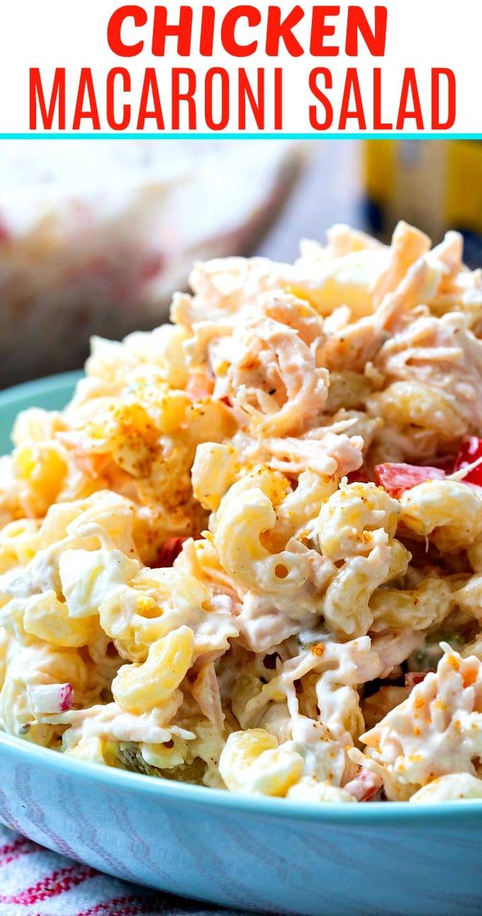 Chicken Macaroni Salad in a blue serving bowl