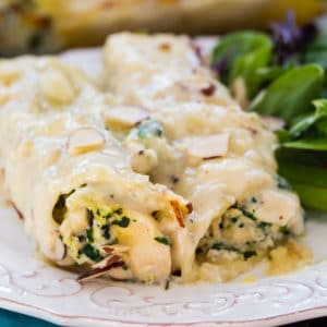 Creamed Chicken Manicotti served on a plate with salad