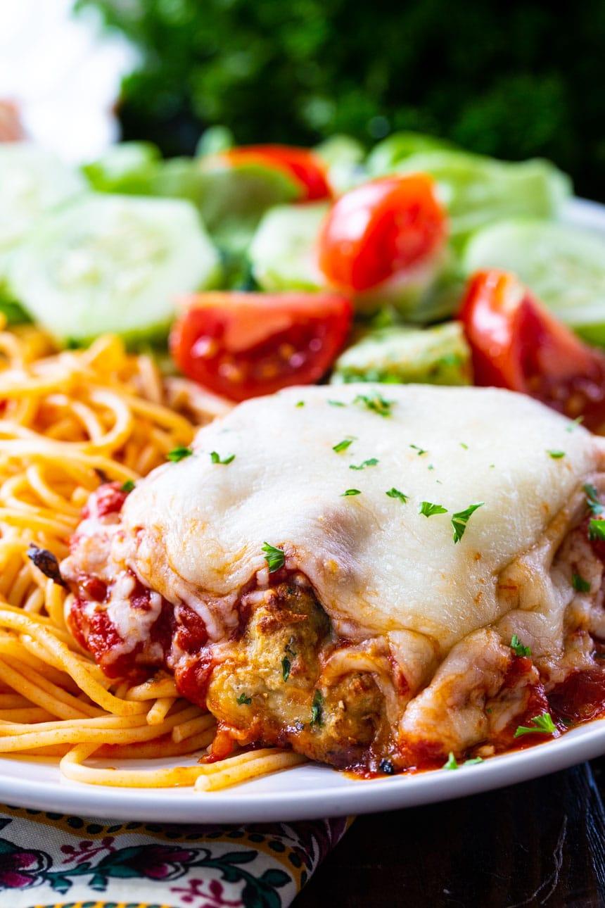 Chicken Patty Parmesan with spaghetti