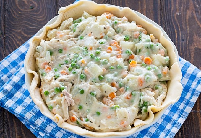 Chicken Pot Pie filling in the pie crust