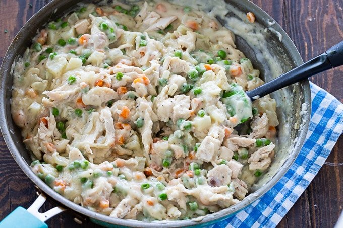 chicken pot pie filling in a skillet