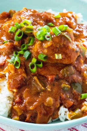 Chicken Sauce Piquant over white rice.