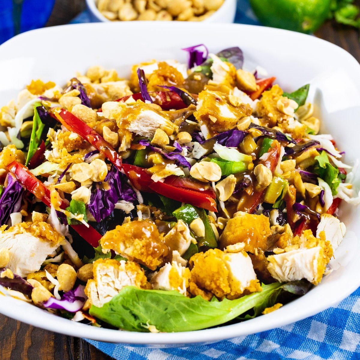 Chicken Tender-Peanut Chopped Salad in a bowl.