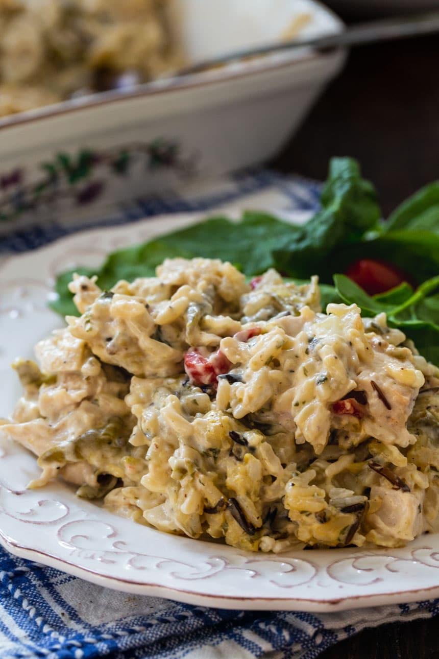 Chicken Wild Rice Casserole on a plate.