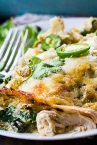 Creamy Chicken and Collard Green Enchiladas