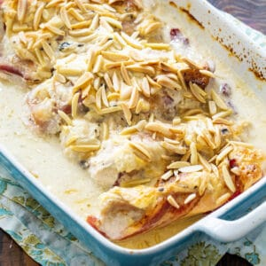 Chicken and Sour Cream Bake in a baking dish.