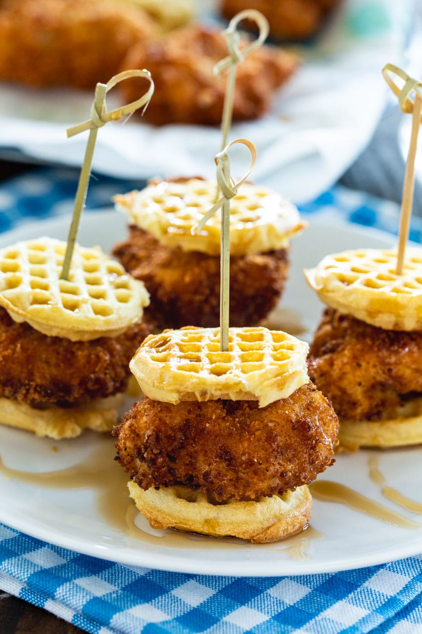 Mini Chicken and Waffle Sliders on a serving plate