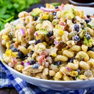 Chipotle Chicken Pasta Salad in serving bowl.