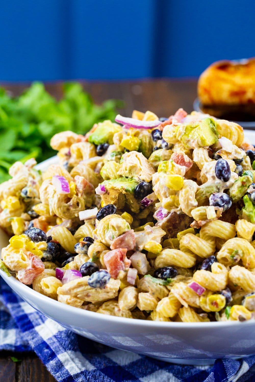 Chipotle Chicken Pasta Salad with bunch of cilantro.