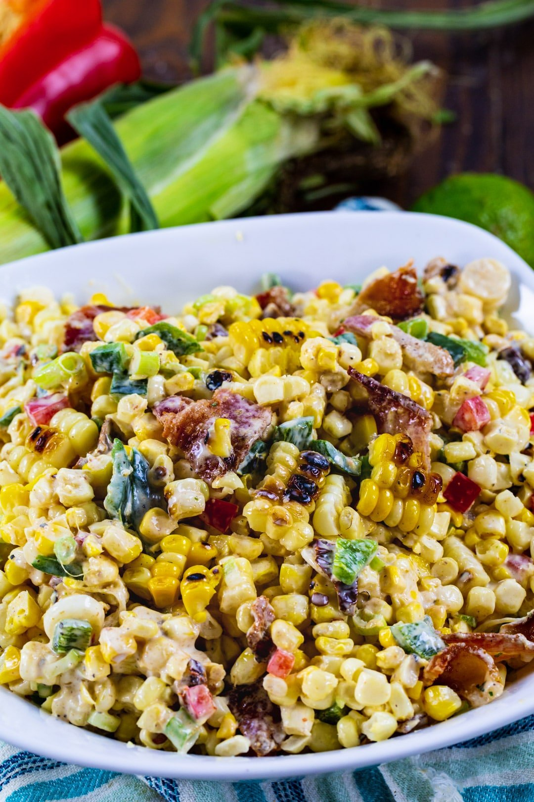 Chipotle Corn Salad in white serving bowl.