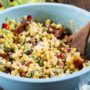 Chipotle Corn Salad in a large blue bowl.
