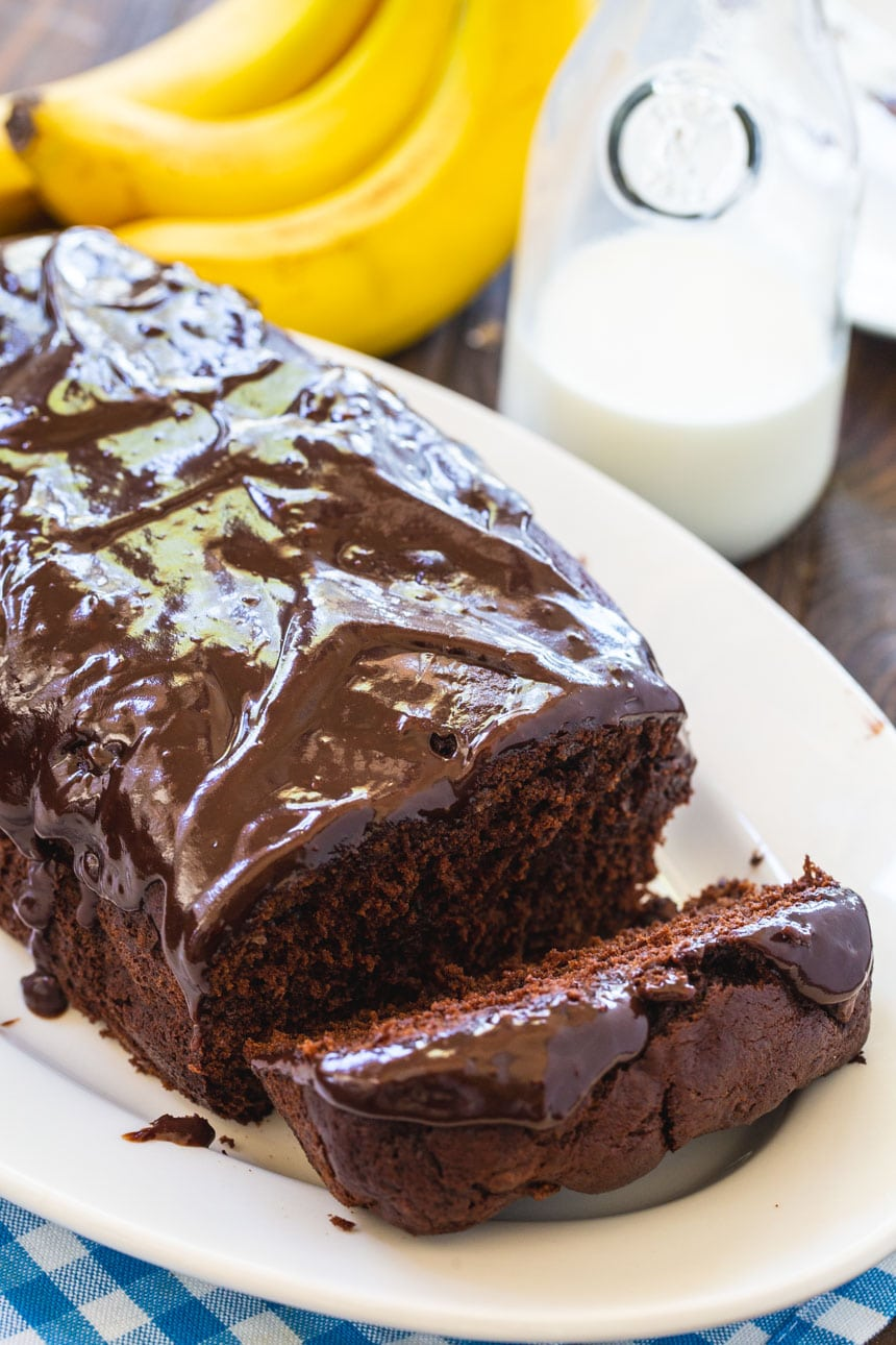 Chocolate Banana Bread on a white serving platter