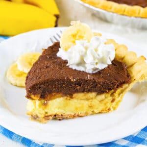 Slice of Chocolate Banana Cream Pie on a plate.
