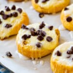 Chocolate Chip Cream Cheese Danishes on baking sheet.