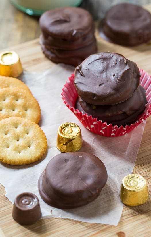 Rolo Stuffed Ritz Crackers covered in milk chocolate