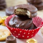 Chocolate Covered Ritz Crackers stuffed with Rolos
