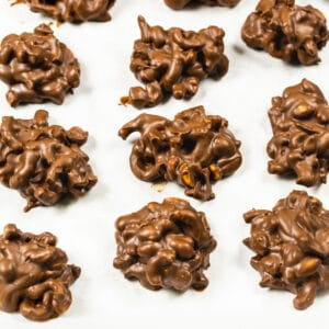 Chocolate Clusters on parchment paper.